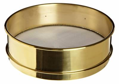 a stainless steel fine woven wire mesh sieve with full height brass frame