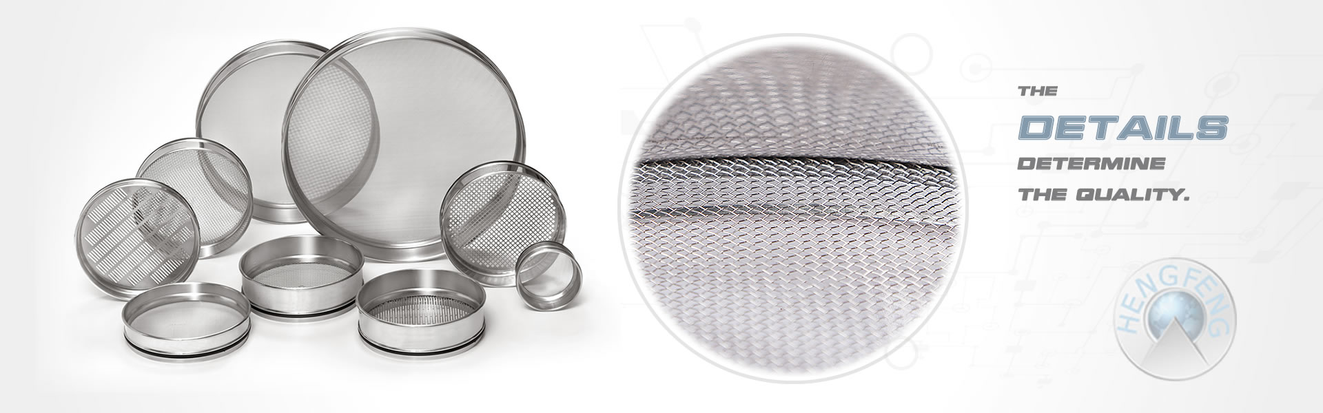Several test sieves on the white background with a detail of woven test sieve.