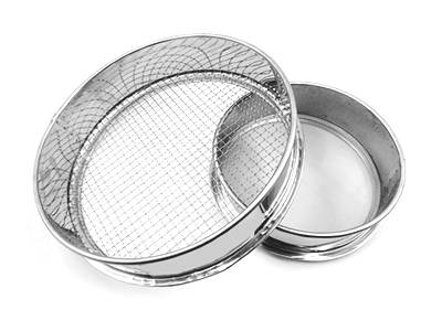 Two stainless steel materials woven sieves on the white background with different diameter and opening sizes.